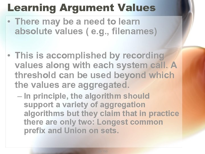 Learning Argument Values • There may be a need to learn absolute values (