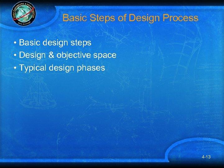 Basic Steps of Design Process • Basic design steps • Design & objective space