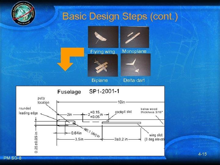Basic Design Steps (cont. ) Flying wing Biplane PM SG-8 Monoplane Delta dart 4