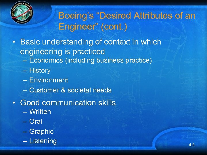 """Boeing's """"Desired Attributes of an Engineer"""" (cont. ) • Basic understanding of context in"""