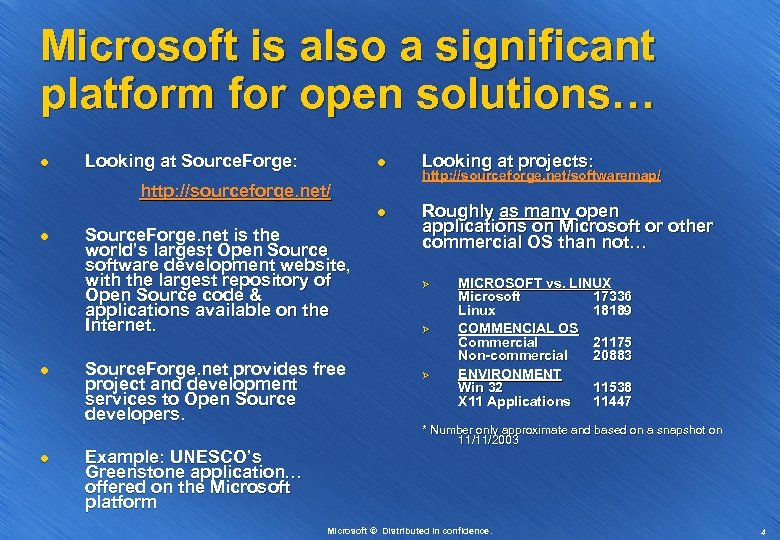 Microsoft is also a significant platform for open solutions… l l l Looking at