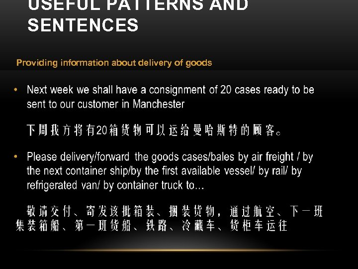 USEFUL PATTERNS AND SENTENCES Providing information about delivery of goods