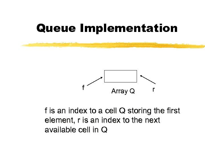 Queue Implementation f Array Q r f is an index to a cell Q