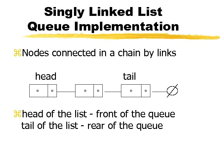 Singly Linked List Queue Implementation z. Nodes connected in a chain by links head
