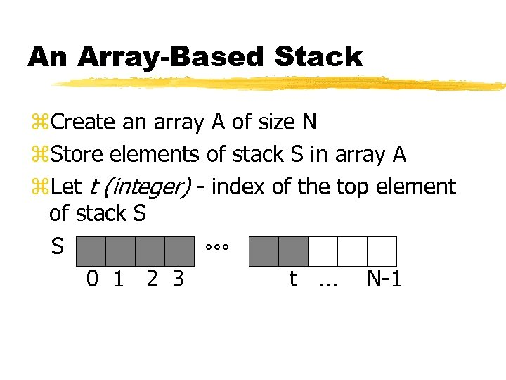 An Array-Based Stack z. Create an array A of size N z. Store elements