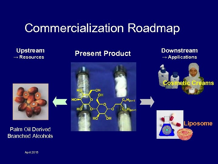 Commercialization Roadmap Upstream → Resources Present Product Downstream → Applications Cosmetic Creams Palm Oil