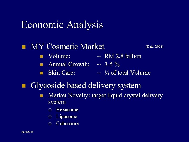 Economic Analysis n MY Cosmetic Market n n Volume: Annual Growth: Skin Care: (Data: