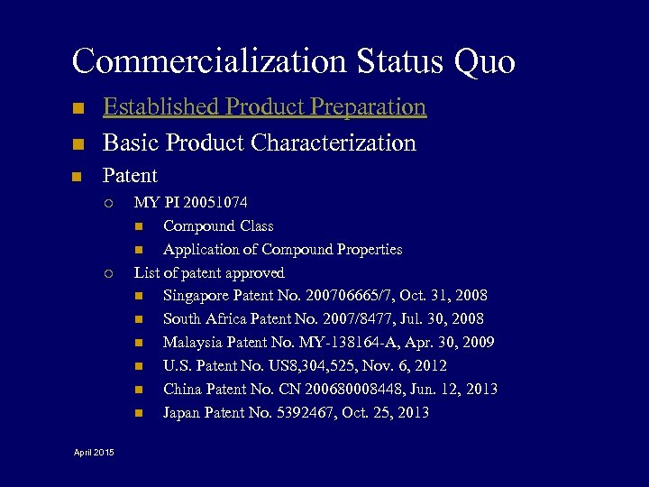 Commercialization Status Quo n Established Product Preparation Basic Product Characterization n Patent n ¡