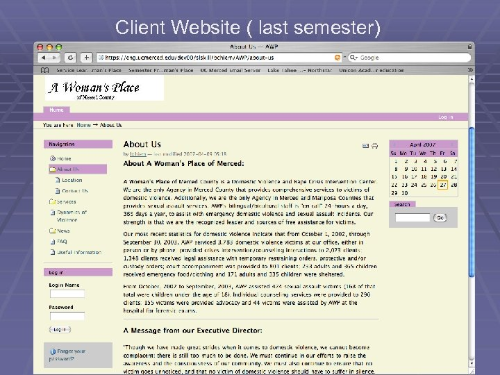 Client Website ( last semester)