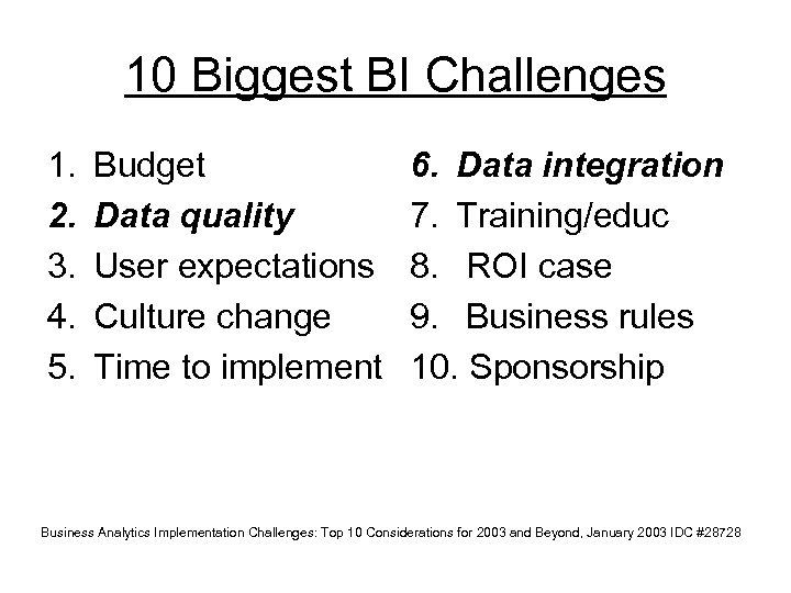 10 Biggest BI Challenges 1. 2. 3. 4. 5. Budget Data quality User expectations