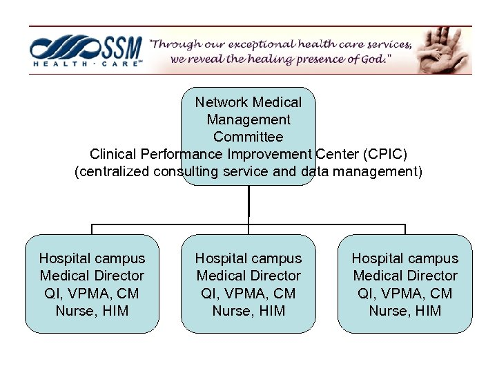 Network Medical Management Committee Clinical Performance Improvement Center (CPIC) (centralized consulting service and data
