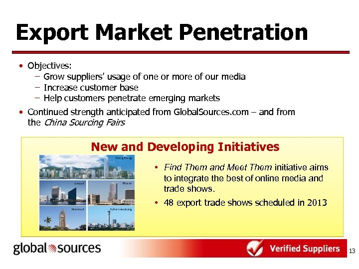 Export Market Penetration • Objectives: – Grow suppliers' usage of one or more of