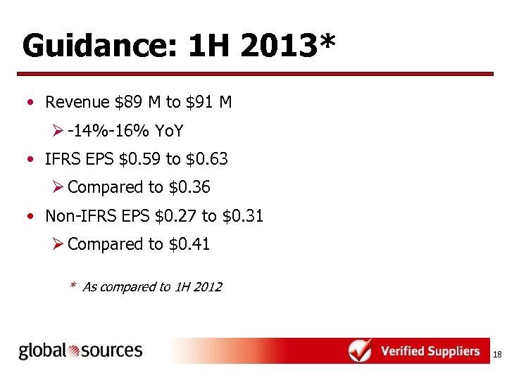 Guidance: 1 H 2013* • Revenue $89 M to $91 M Ø -14%-16% Yo.