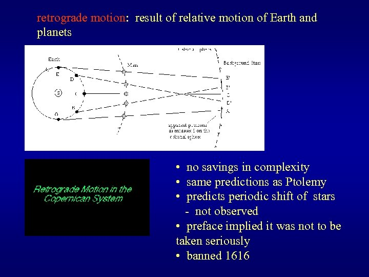 retrograde motion: result of relative motion of Earth and planets • no savings in