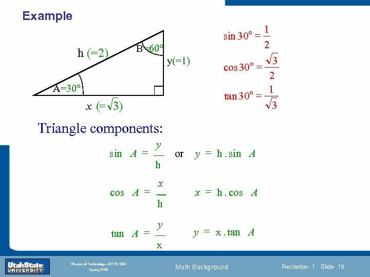 Example sin 30° = B=60° h (=2) y(=1) A=30° x (= 3) 1 2