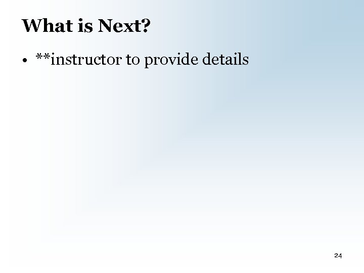 What is Next? • **instructor to provide details 24