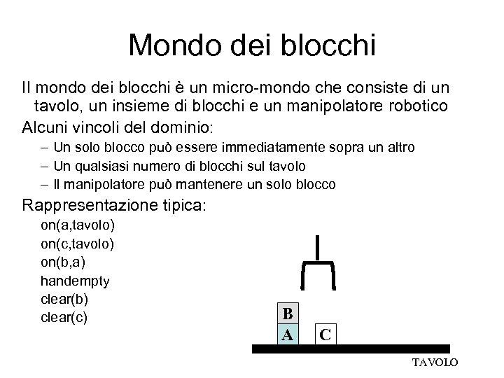 Mondo dei blocchi Il mondo dei blocchi è un micro-mondo che consiste di un