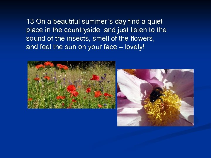 13 On a beautiful summer´s day find a quiet place in the countryside and