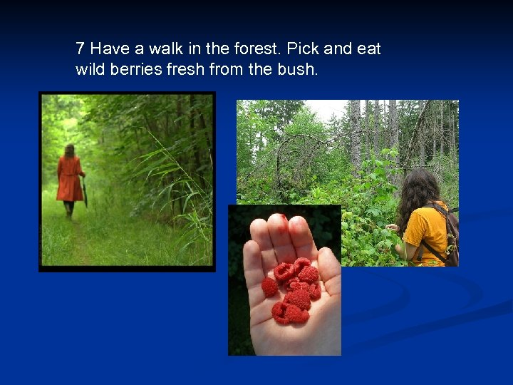 7 Have a walk in the forest. Pick and eat wild berries fresh from