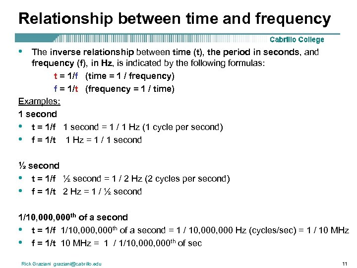Relationship between time and frequency • The inverse relationship between time (t), the period