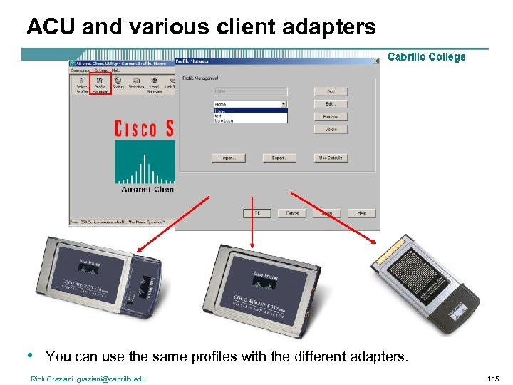 ACU and various client adapters • You can use the same profiles with the