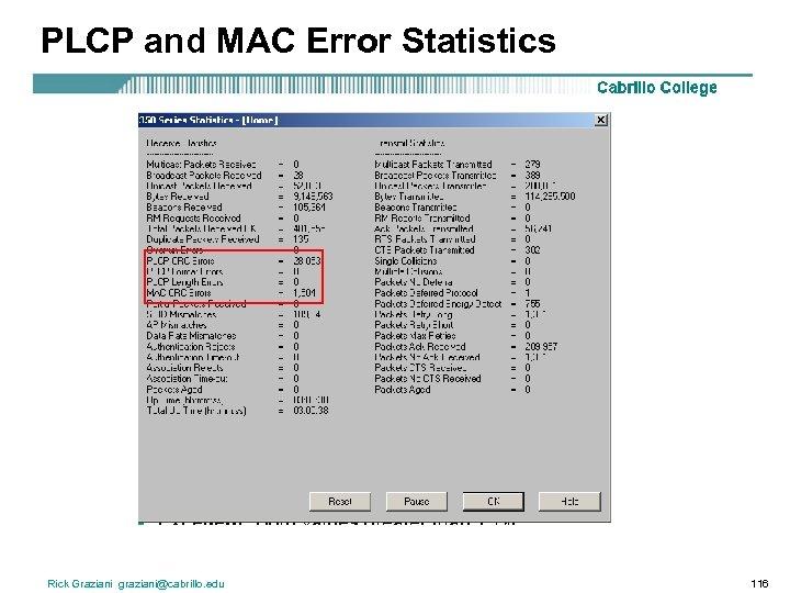 PLCP and MAC Error Statistics Rick Graziani graziani@cabrillo. edu 116