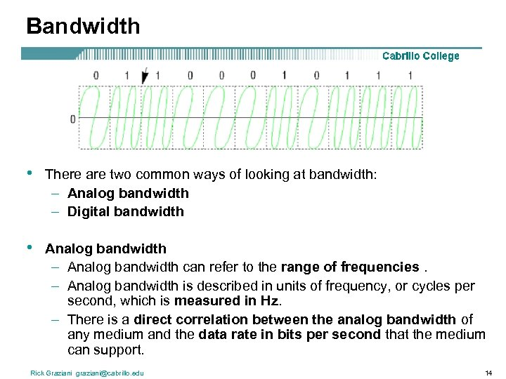 Bandwidth • There are two common ways of looking at bandwidth: – Analog bandwidth
