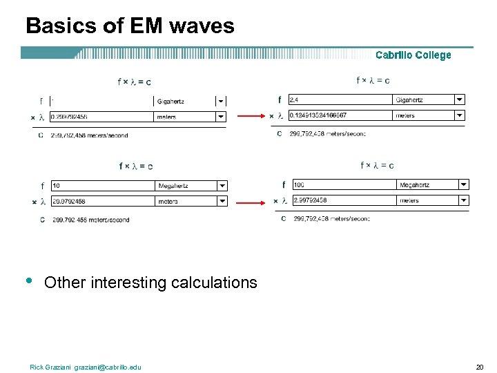 Basics of EM waves • Other interesting calculations Rick Graziani graziani@cabrillo. edu 20