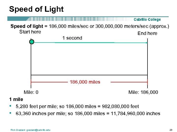 Speed of Light Speed of light = 186, 000 miles/sec or 300, 000 meters/sec