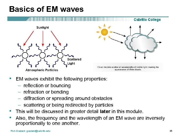 Basics of EM waves • • • EM waves exhibit the following properties: –