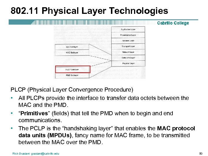 802. 11 Physical Layer Technologies PLCP (Physical Layer Convergence Procedure) • All PLCPs provide