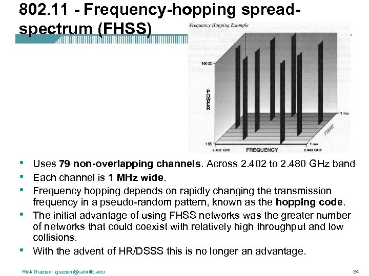 802. 11 - Frequency-hopping spreadspectrum (FHSS) • • • Uses 79 non-overlapping channels. Across