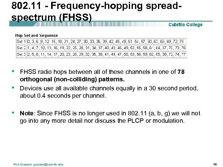 802. 11 - Frequency-hopping spreadspectrum (FHSS) • • • FHSS radio hops between all