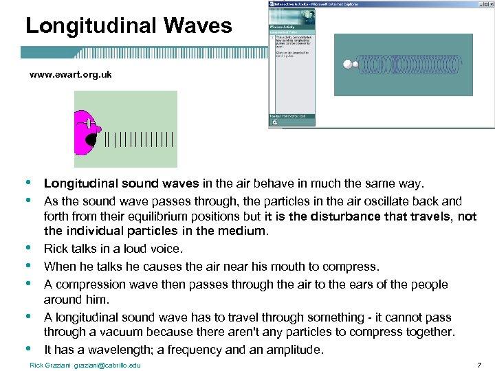 Longitudinal Waves www. ewart. org. uk • • Longitudinal sound waves in the air