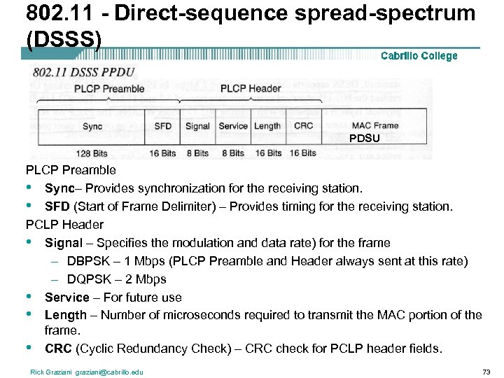 802. 11 - Direct-sequence spread-spectrum (DSSS) PDSU PLCP Preamble • Sync– Provides synchronization for