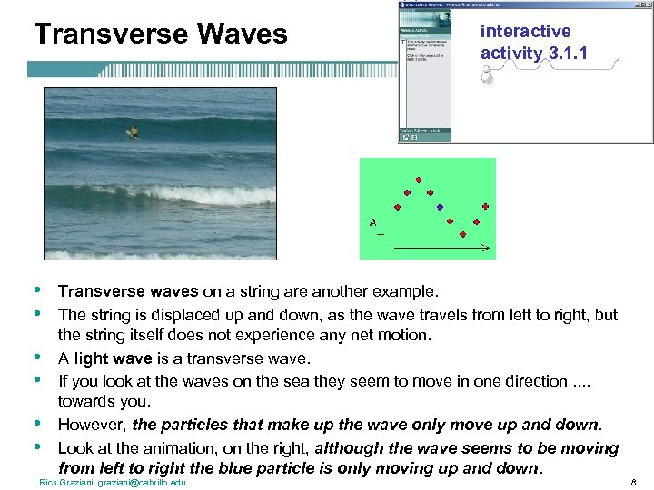 Transverse Waves • • • interactive activity 3. 1. 1 Transverse waves on a
