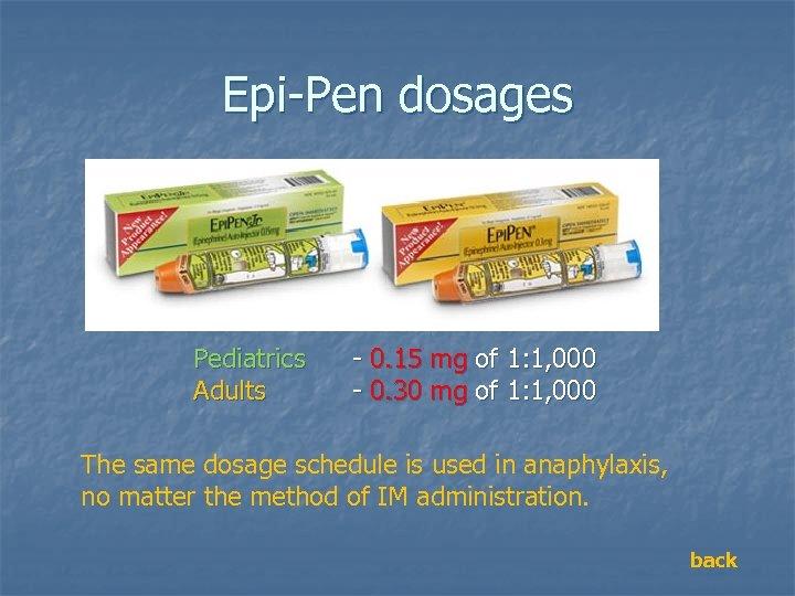 Epi-Pen dosages Pediatrics Adults - 0. 15 mg of 1: 1, 000 - 0.