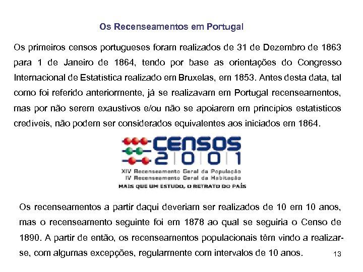 Os Recenseamentos em Portugal Os primeiros censos portugueses foram realizados de 31 de Dezembro
