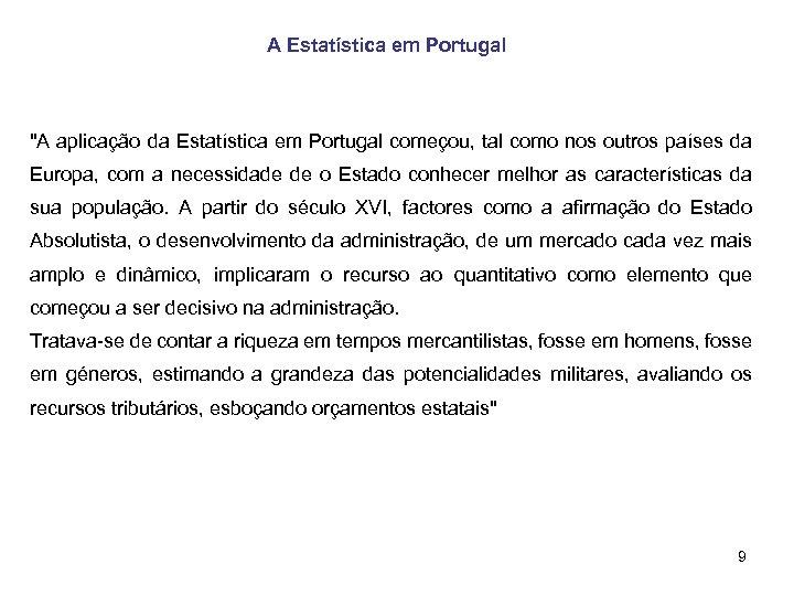 A Estatística em Portugal