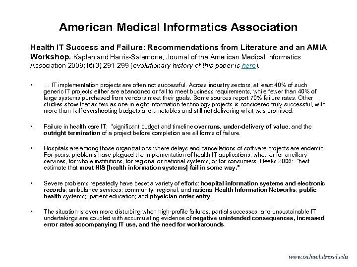 American Medical Informatics Association Health IT Success and Failure: Recommendations from Literature and an