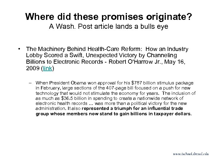 Where did these promises originate? A Wash. Post article lands a bulls eye •