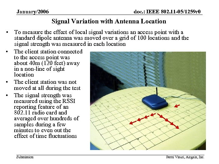 January/2006 doc. : IEEE 802. 11 -05/1259 r 0 Signal Variation with Antenna Location