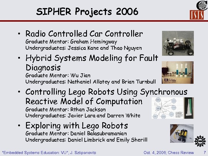 SIPHER Projects 2006 • Radio Controlled Car Controller Graduate Mentor: Graham Hemingway Undergraduates: Jessica