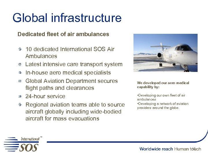 Global infrastructure Dedicated fleet of air ambulances 10 dedicated International SOS Air Ambulances Latest