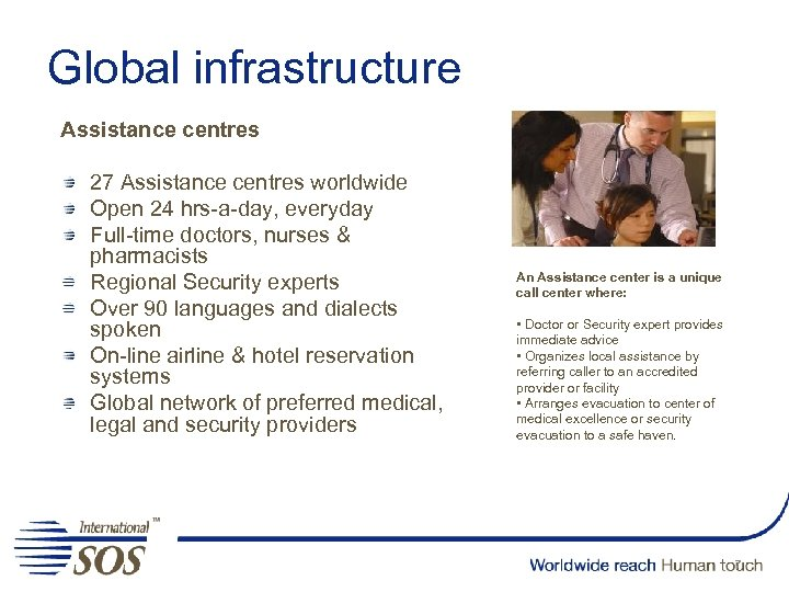 Global infrastructure Assistance centres 27 Assistance centres worldwide Open 24 hrs-a-day, everyday Full-time doctors,