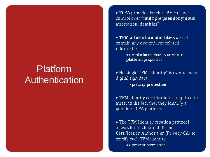 """• TCPA provides for the TPM to have control over """"multiple pseudonymous attestation"""
