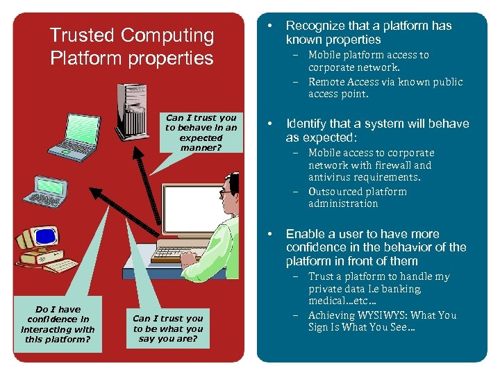 Trusted Computing Platform properties Can I trust you to behave in an expected manner?