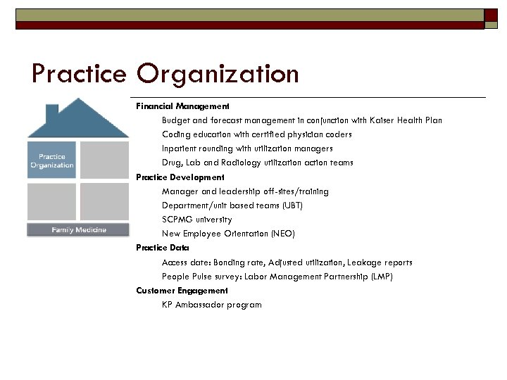 Practice Organization Financial Management Budget and forecast management in conjunction with Kaiser Health Plan