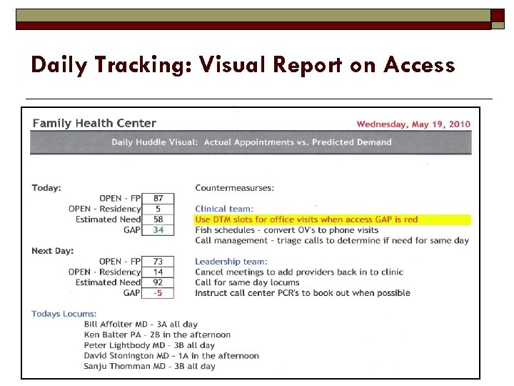 Daily Tracking: Visual Report on Access