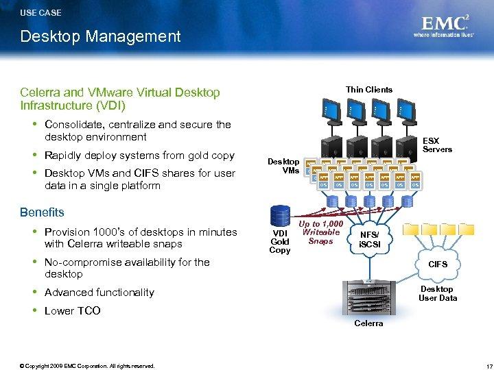 USE CASE Desktop Management Thin Clients Celerra and VMware Virtual Desktop Infrastructure (VDI) Consolidate,